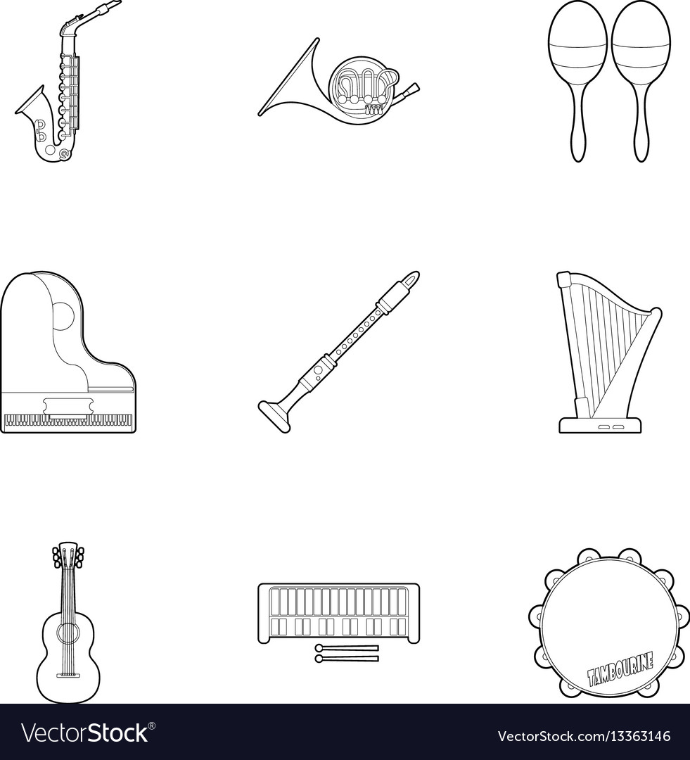 Tools for music icons set outline style vector image on VectorStock