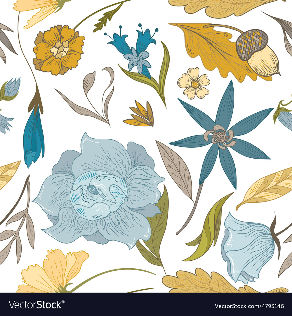 Vintage Fall Floral Pattern Royalty Free Vector Image