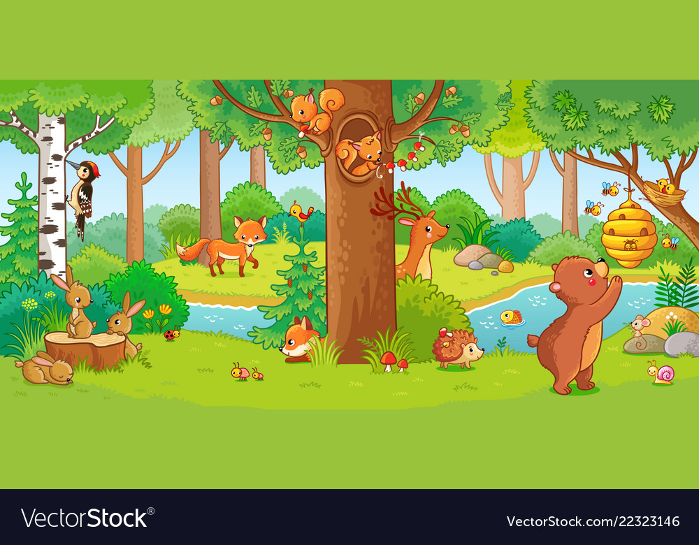 With cute forest animals in a
