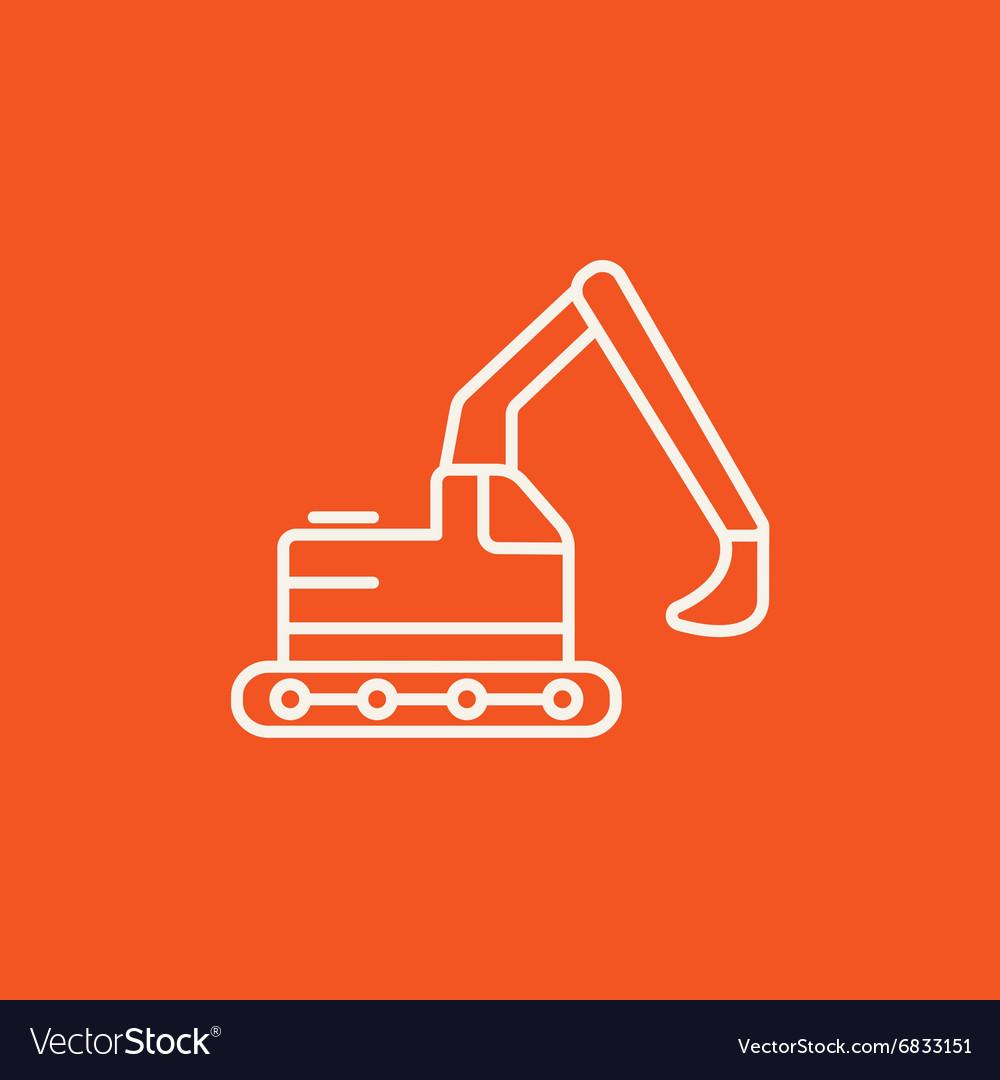 Excavator line icon