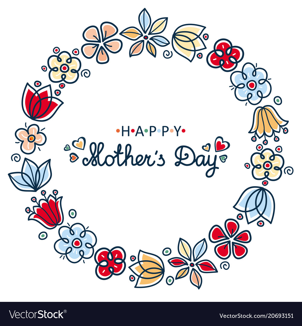 Happy mothers day card round floral wreath