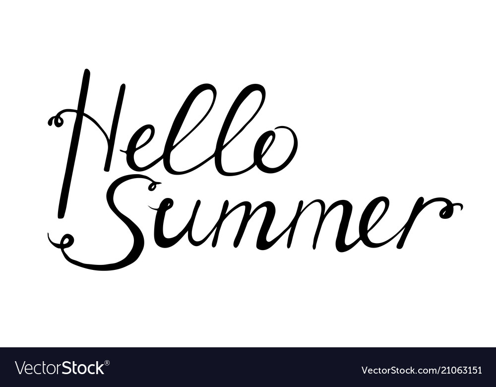 Hello summer black lettering for design