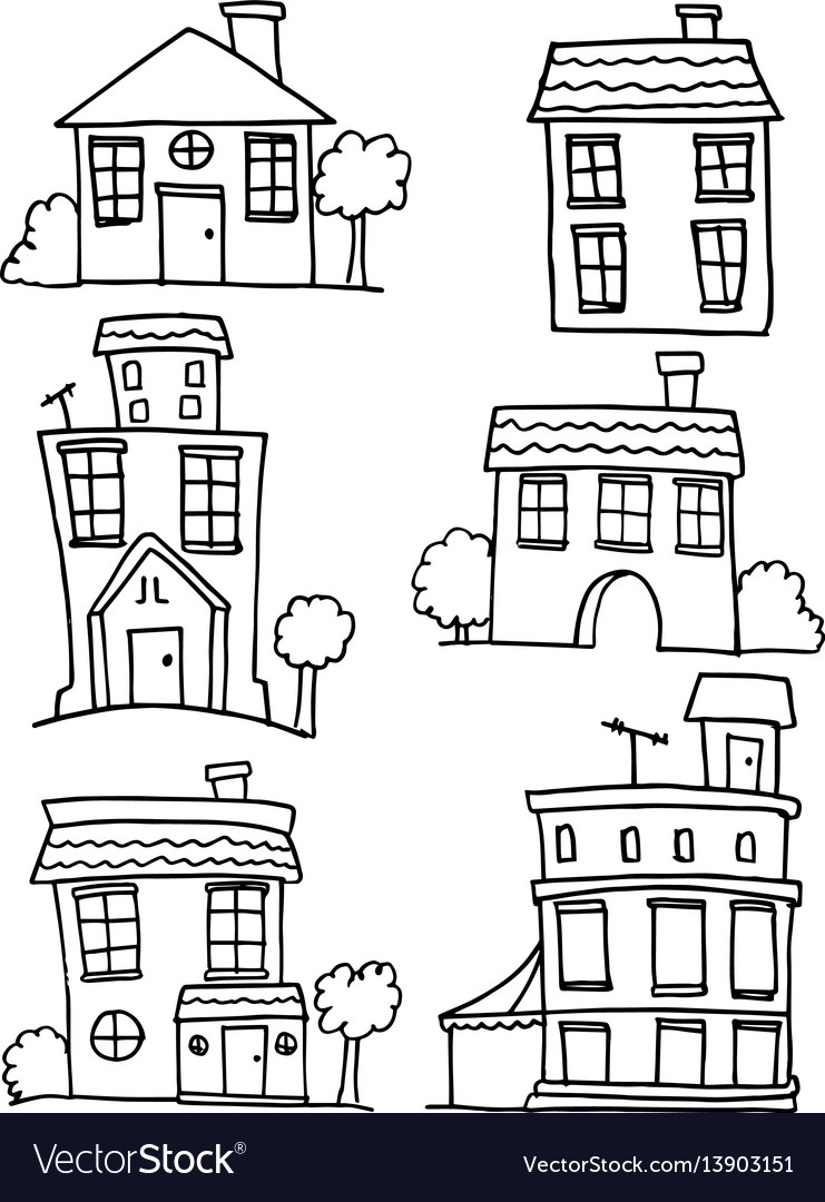 House set with hand draw collection vector image