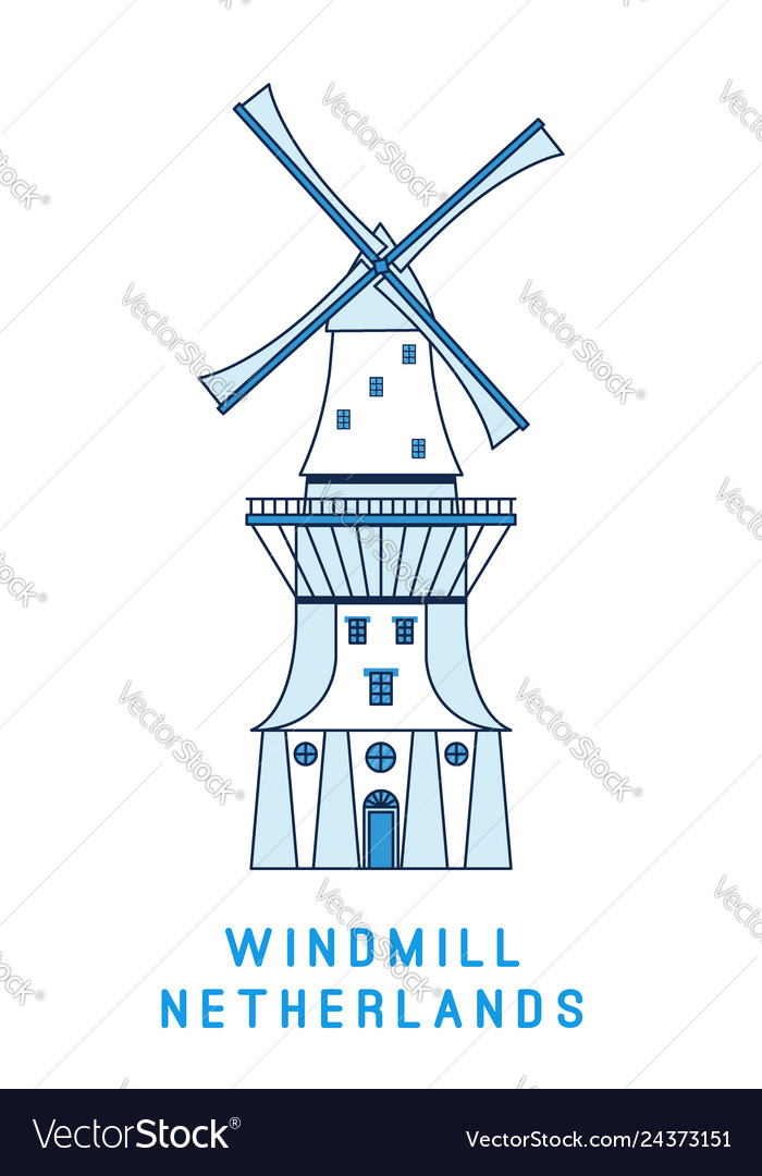 Line art windmill isolated on white background