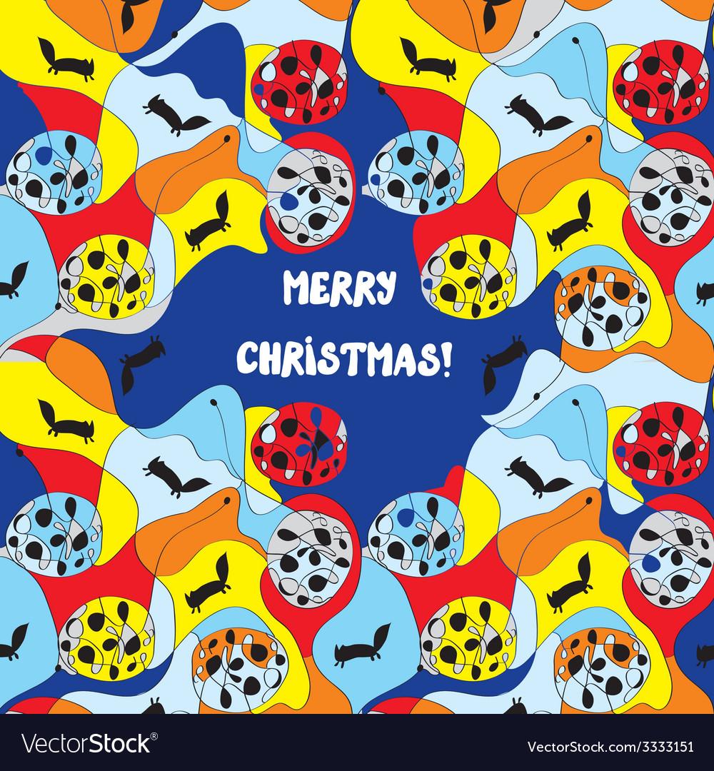 Merry christmas card - whimsical design