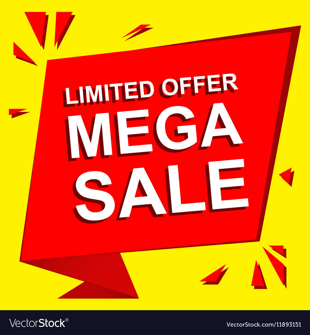 Sale poster with LIMITED OFFER MEGA SALE text