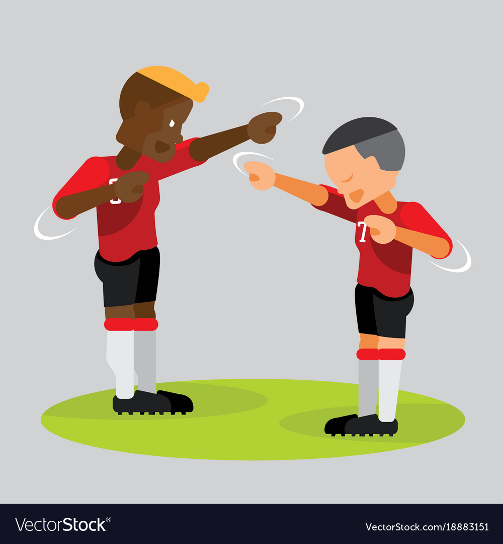 soccer players partner celebrating with dab vector image