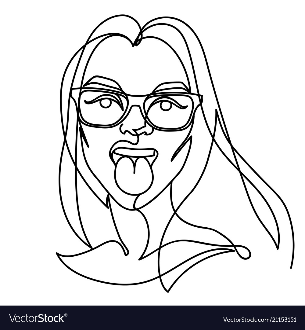 Woman in eyeglasses showing tongue one line art