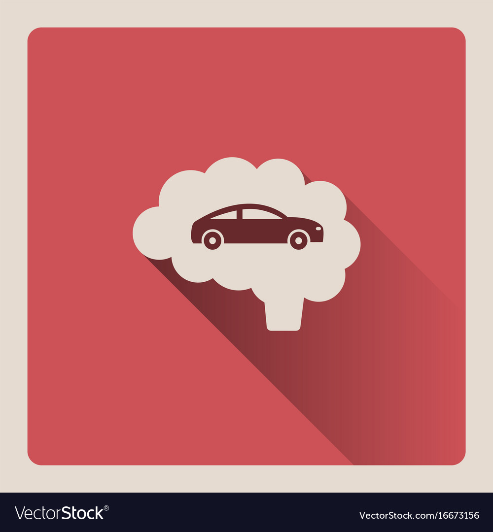 Brain thinking in car on red background with shade vector image