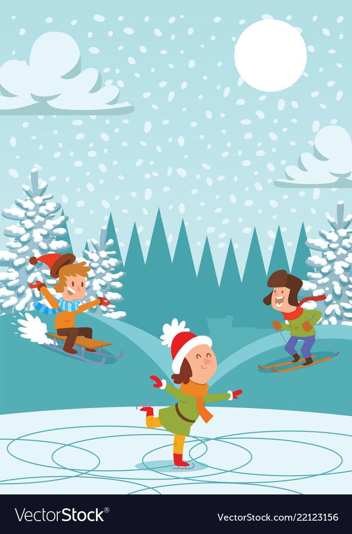 Christmas kids playing winter games skating