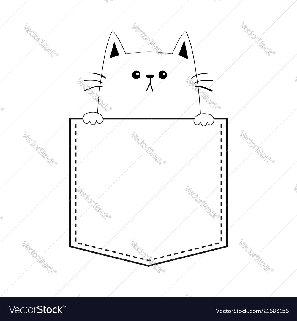 Cute cat in pocket holding paw hands doodle