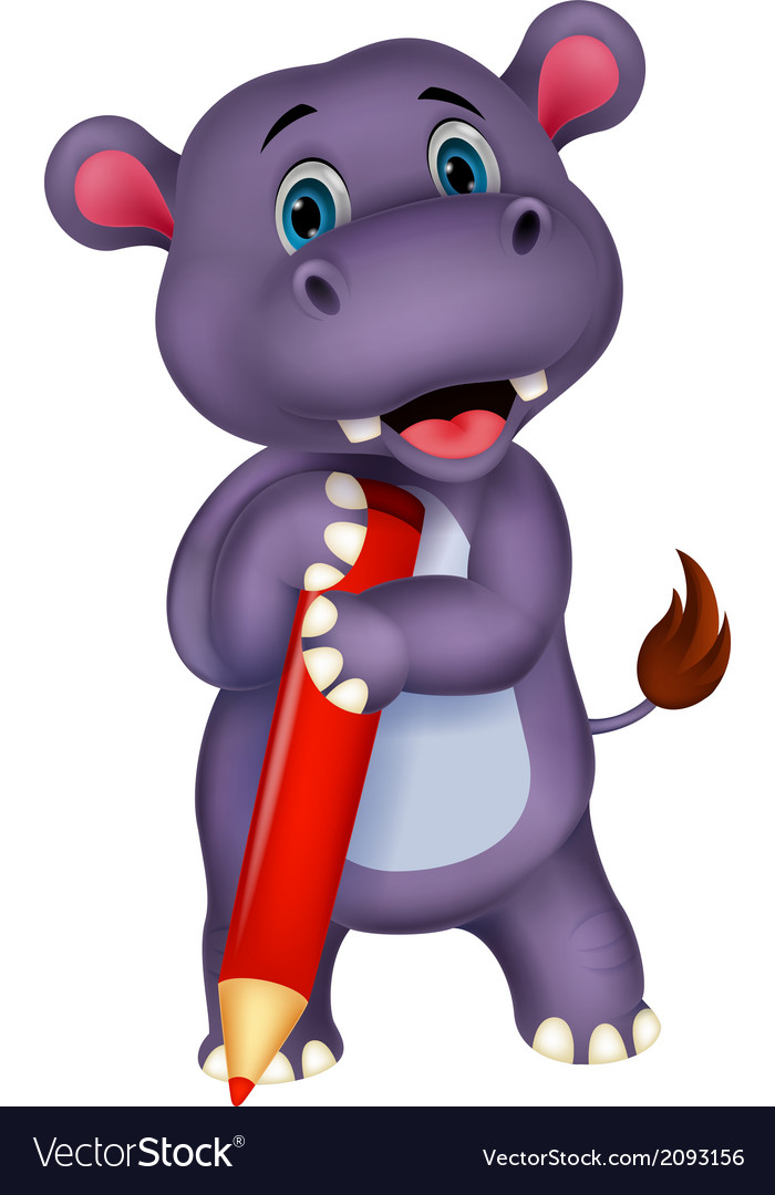 Cute hippo cartoon holding red pencil