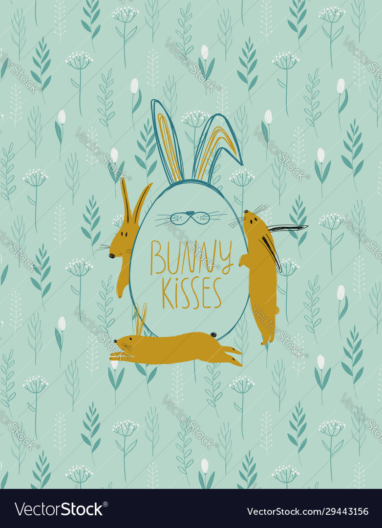 Easter greeting card with egg and rabbits