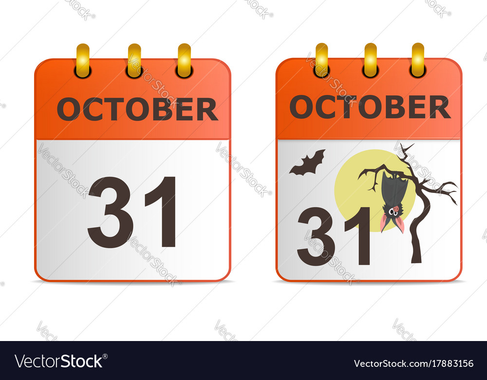 Halloween on icons of calendar