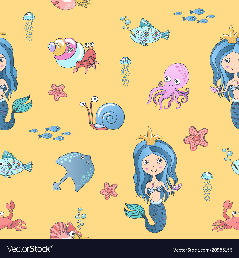 Hand drawing cute little mermaid princess vector