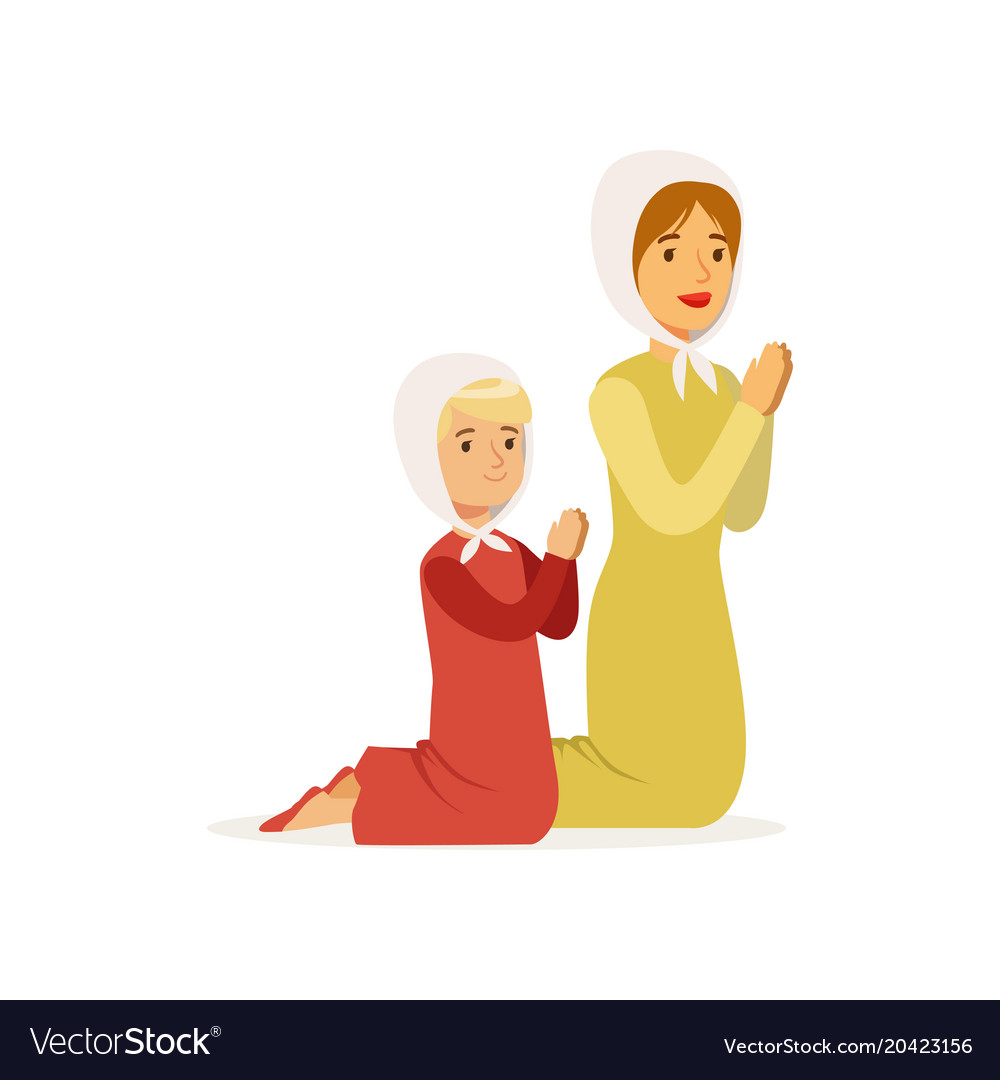 Little girl with mother kneeling and praying to vector image