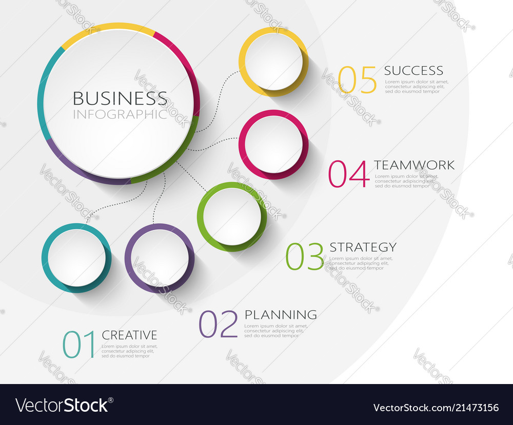 Modern abstract 3d infographic template with five