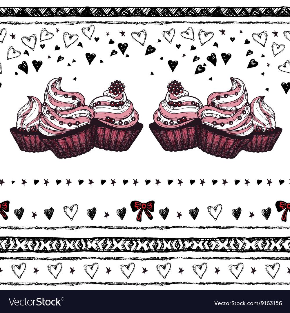 Romantic seamless pattern Valentine day Border