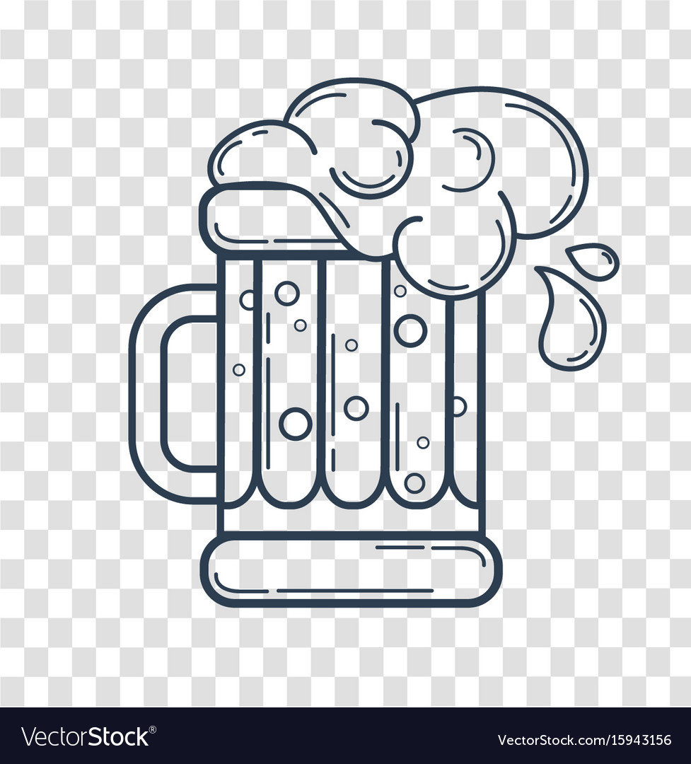 Silhouette glass of beer linear style vector image