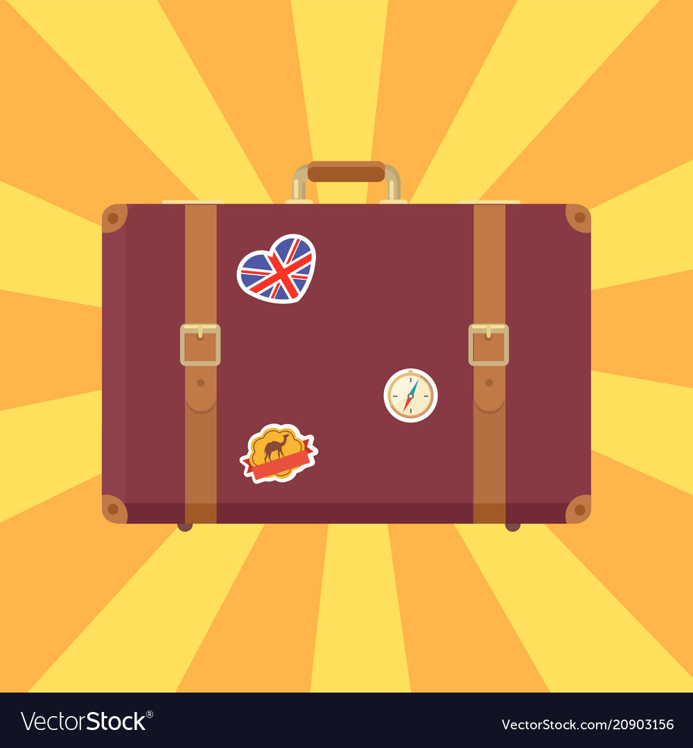 Suitcase with stickers poster