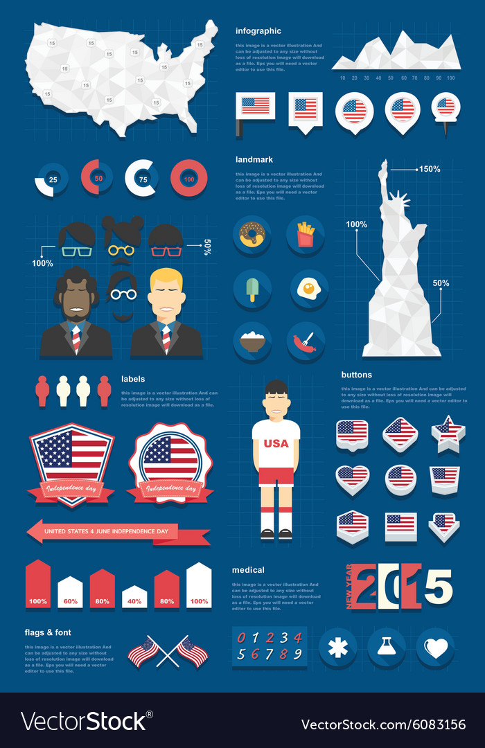 United states infographic set vector image