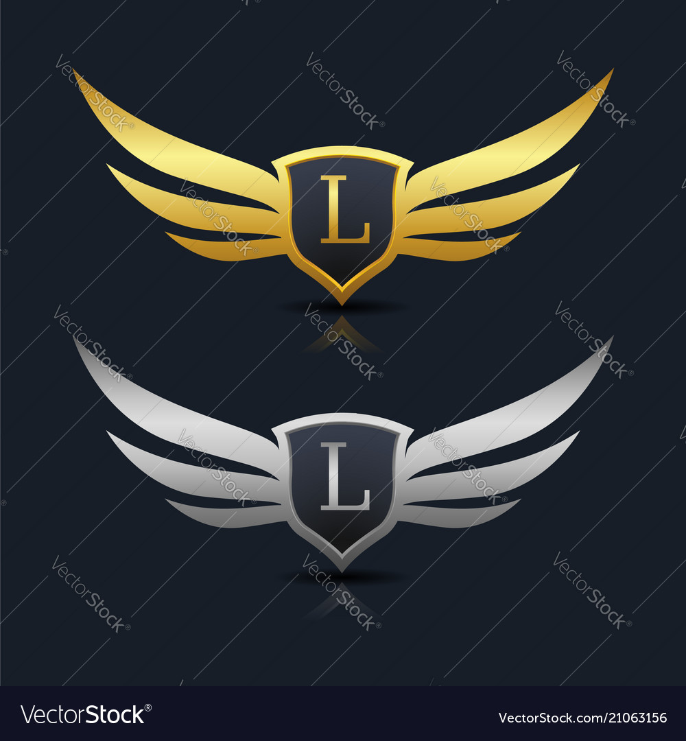 wings shield letter l logo template royalty free vector