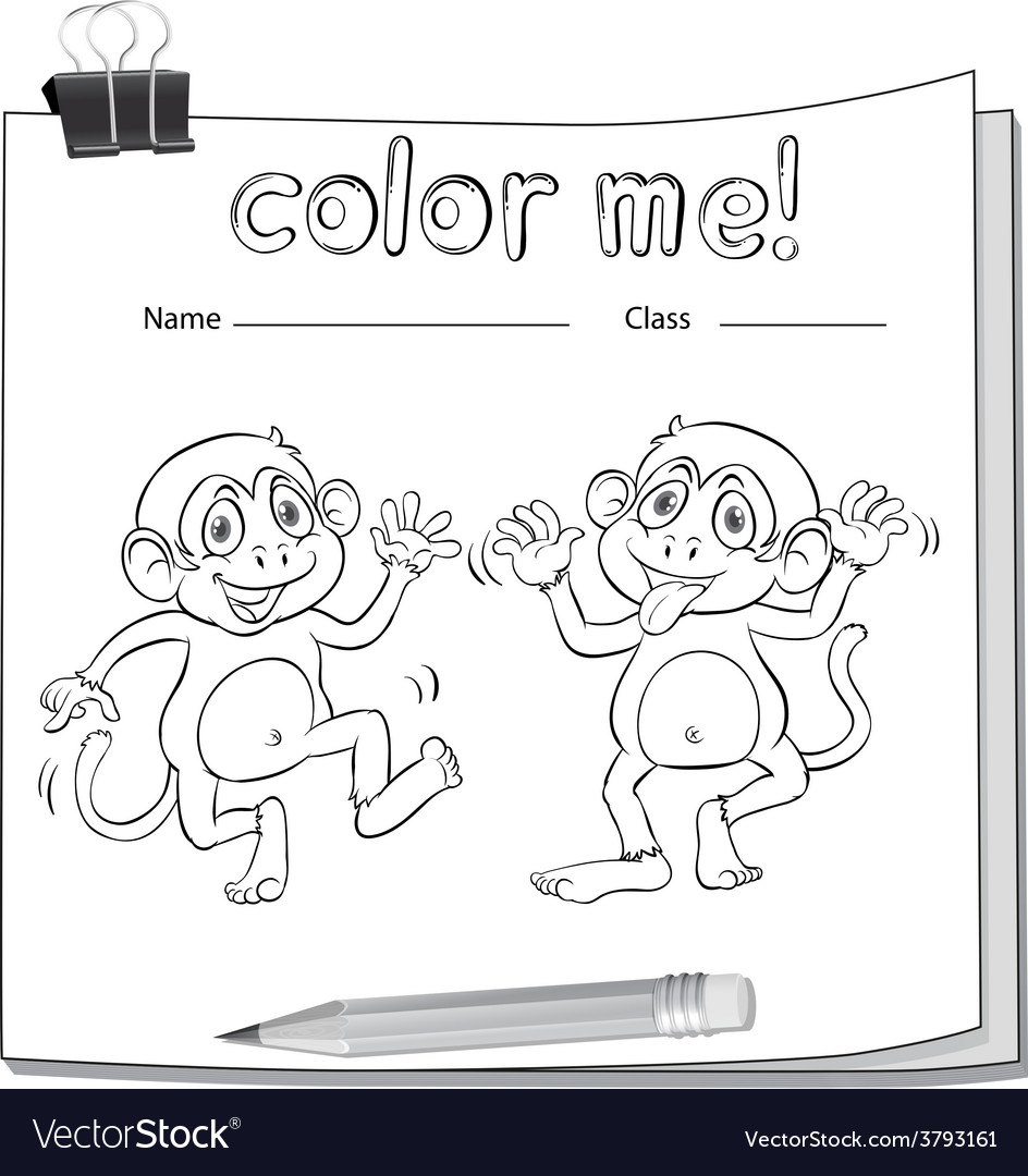 A worksheet showing two playful monkeys