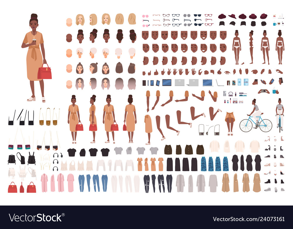 African american hipster girl animation set