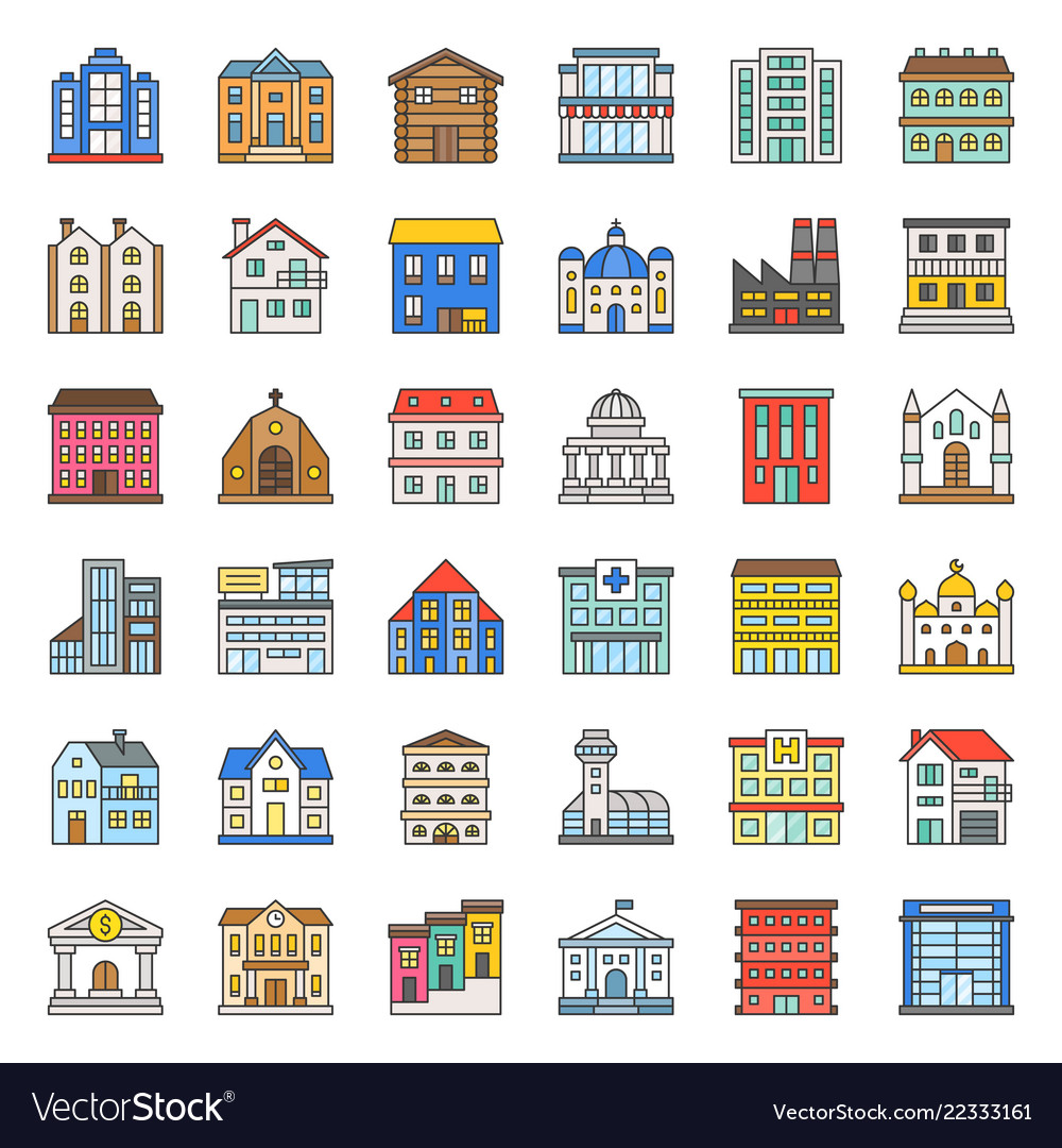 Building construction filled outline icon set 13
