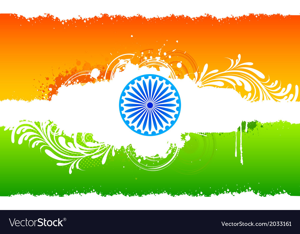 floral indian flag royalty free vector image vectorstock