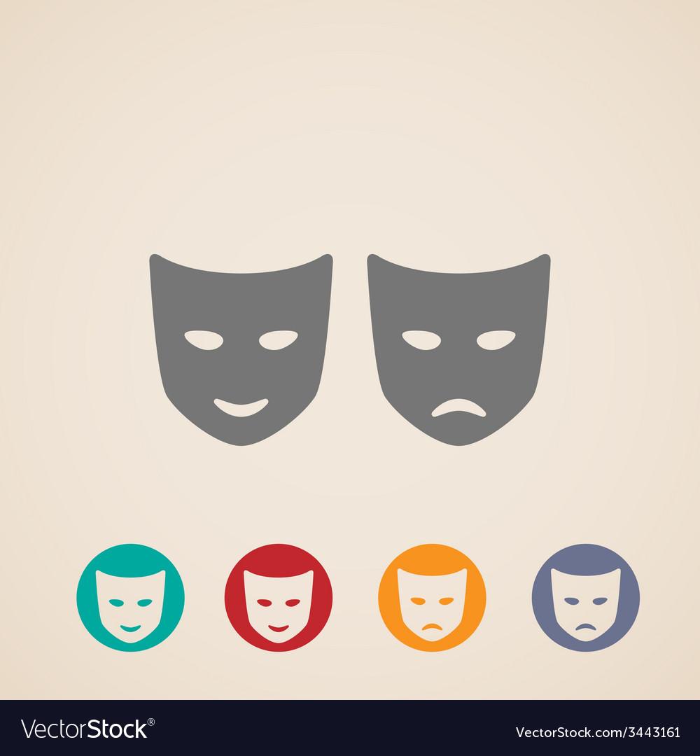 Icon set of theater masks