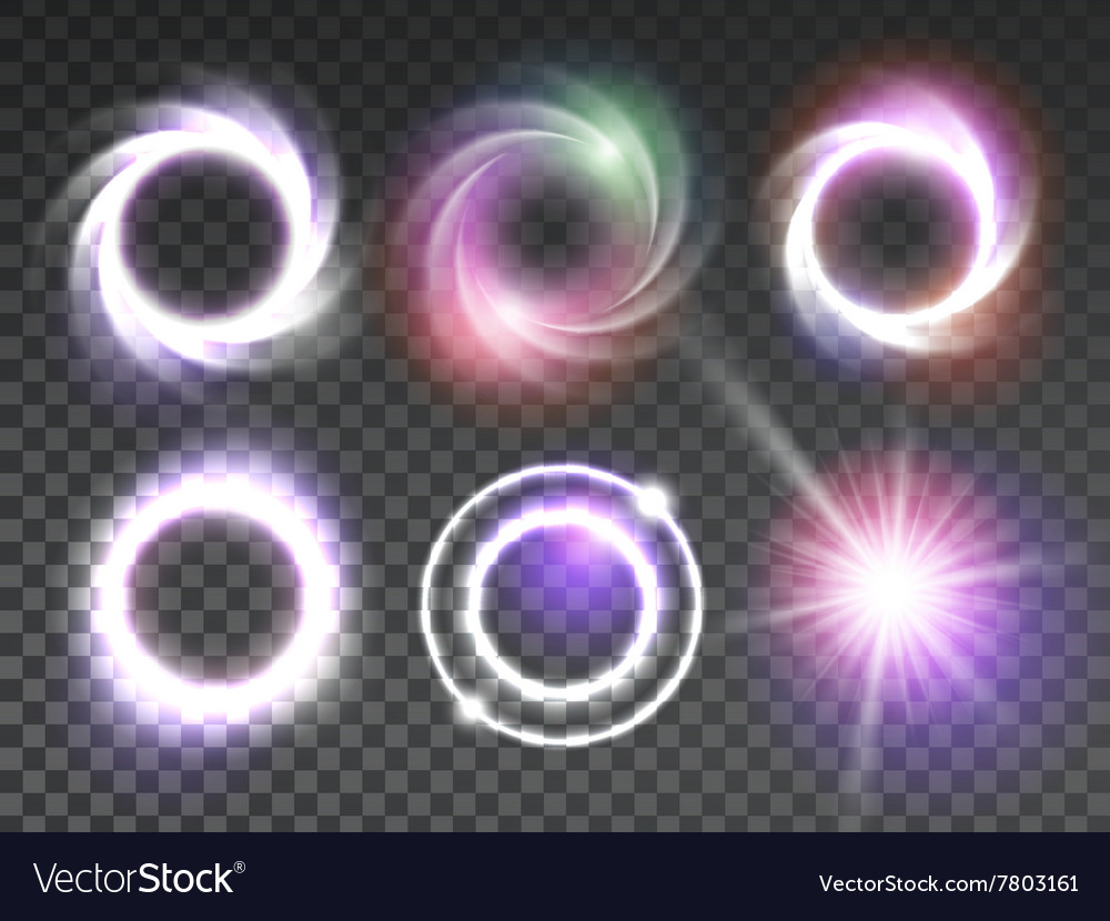 Isolated transparent glowing light effects set