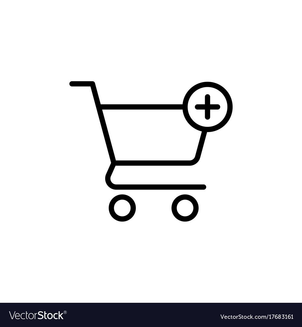 Line shopping card trolley icon