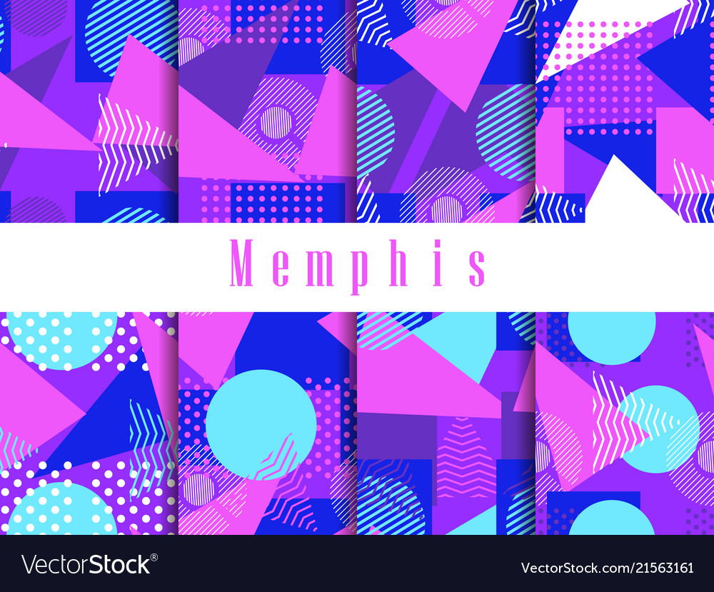 Memphis seamless pattern set geometric elements