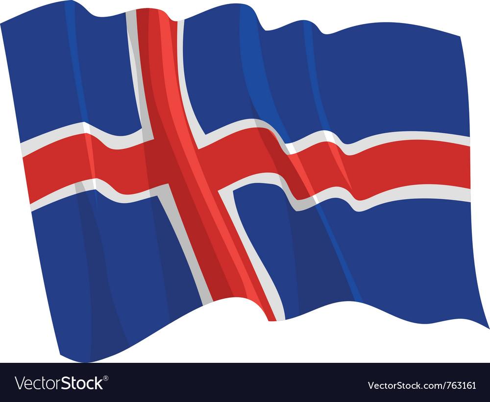 Political waving flag of iceland