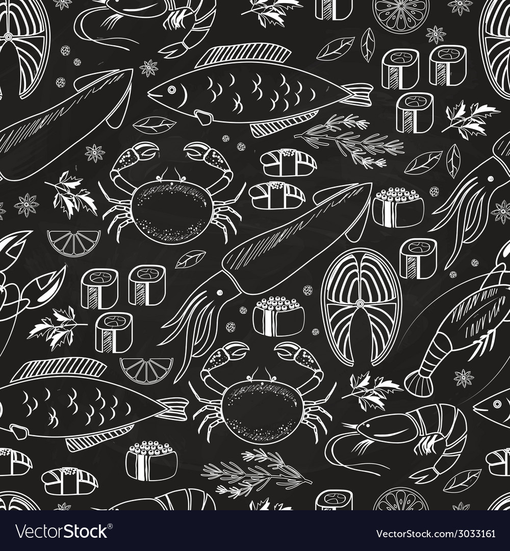 seafood and fish chalkboard seamless background vector image