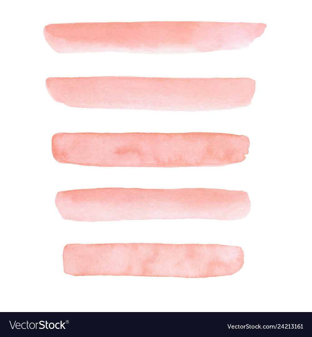 Set hand painted peach pink watercolor brush