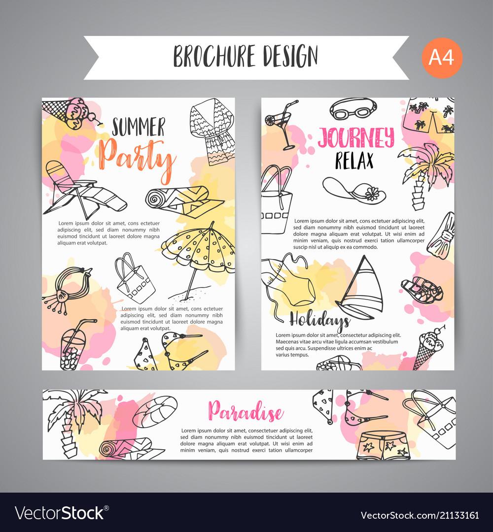 Summer hand drawn brochure beach doodle elements