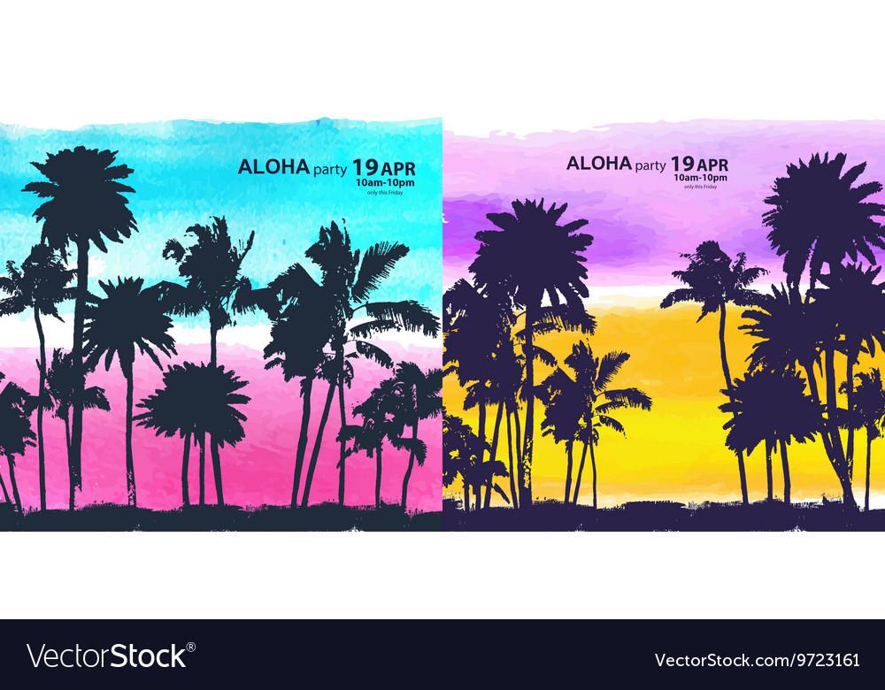 Vintage banners hawaiian island