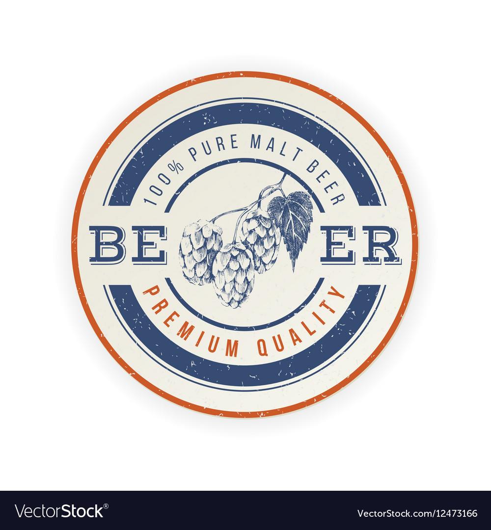 Beer emblem with hand drawn hop brunch