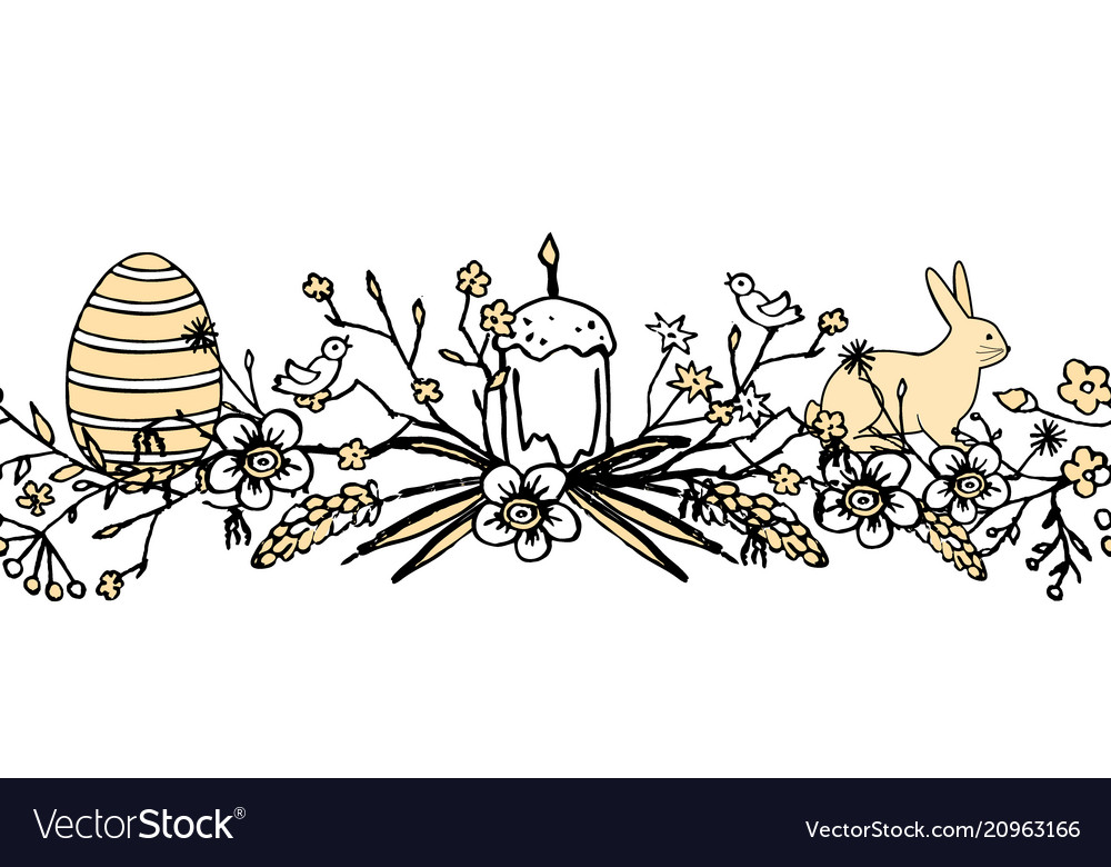 Boder for easter with floral wreath with egg bird
