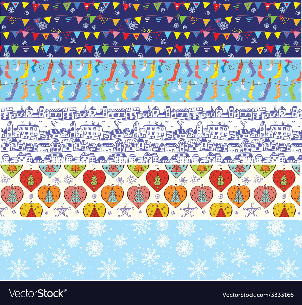 Christmas banners set with pattern of snow