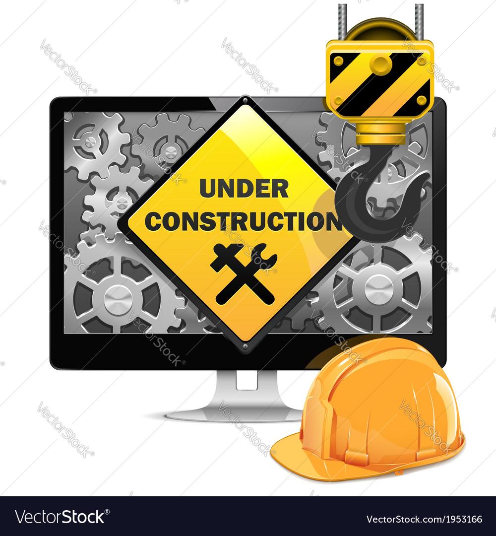 Computer Repair with Helmet vector image