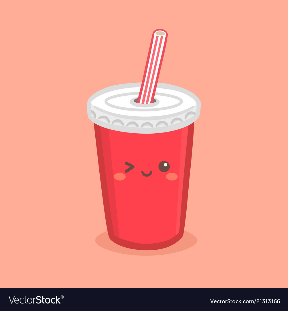 Cute red soda cola paper cup cartoon