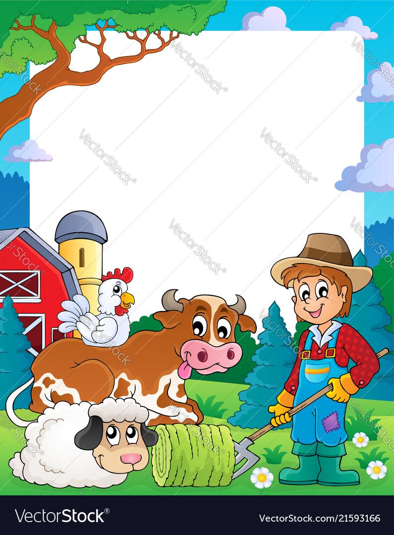 Farm theme frame 3 Royalty Free Vector Image - VectorStock