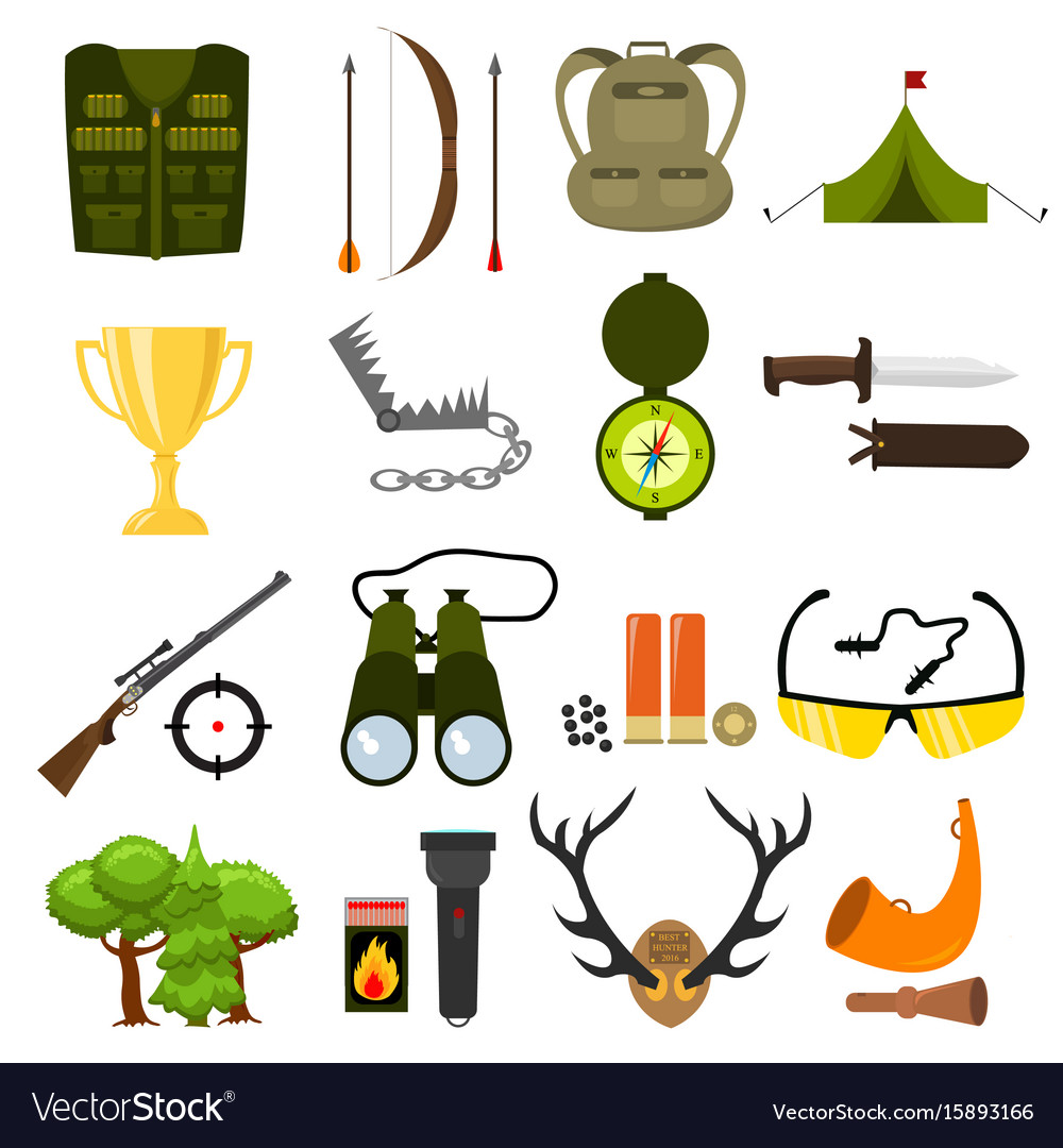 Flat color hunting icons set isolated