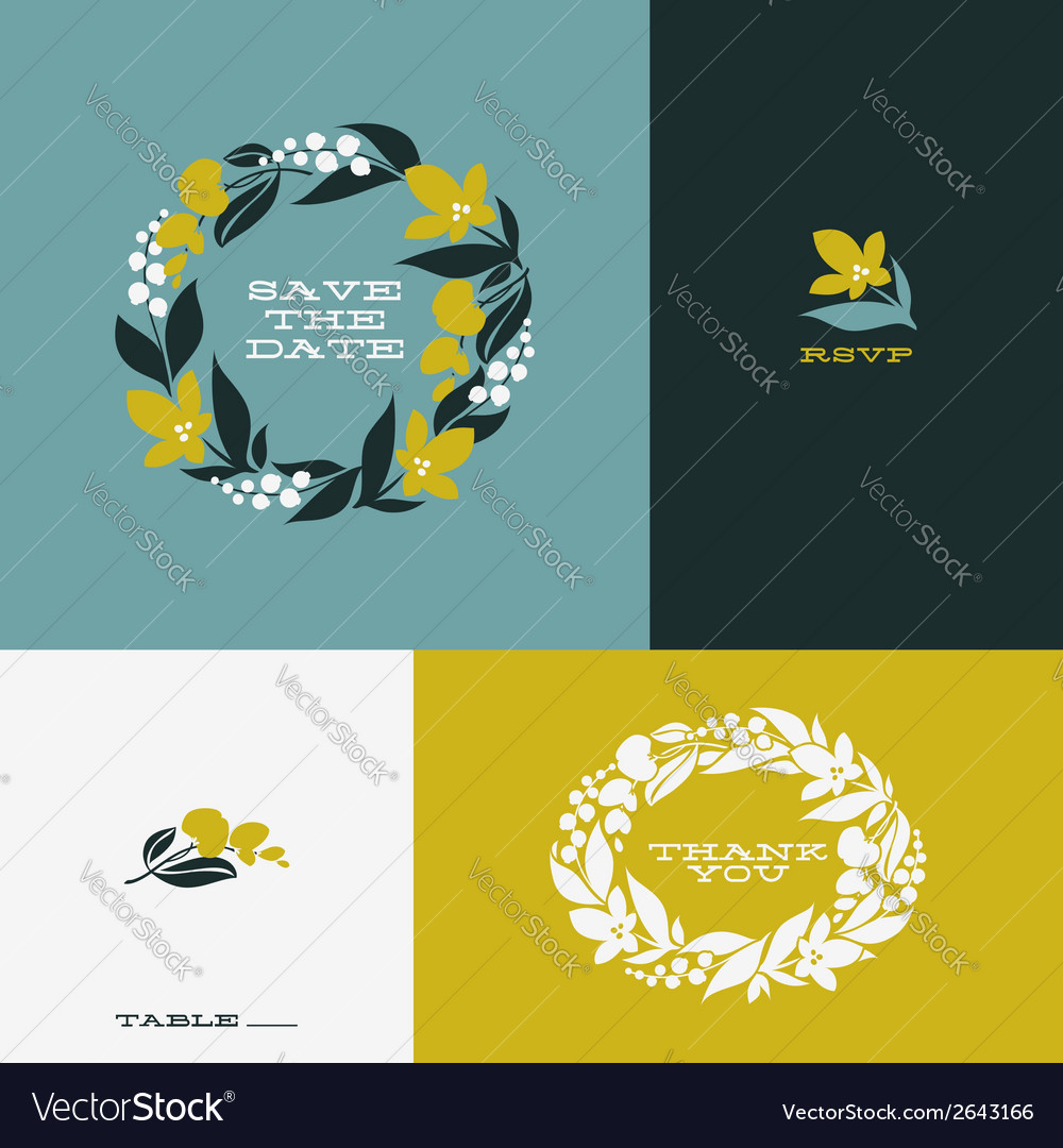 Floral wreath Set of beautiful flat design element