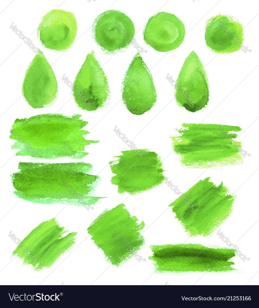 Green watercolor blob stains icons