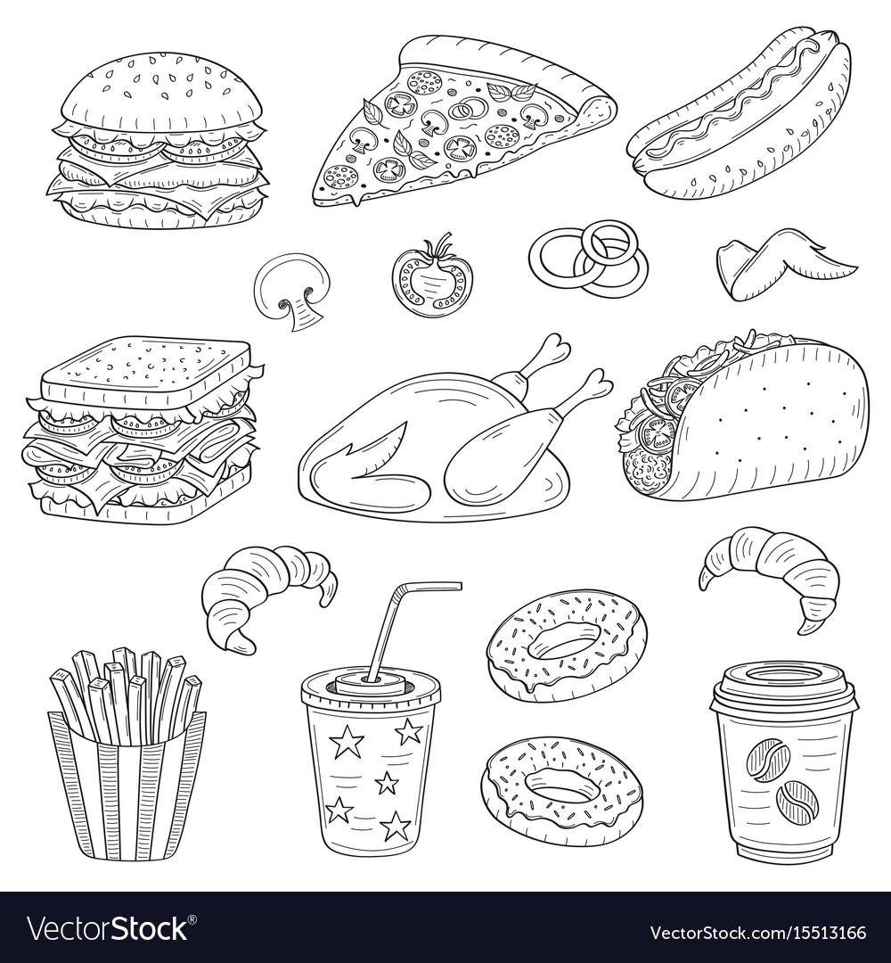 Hand drawn of fast food