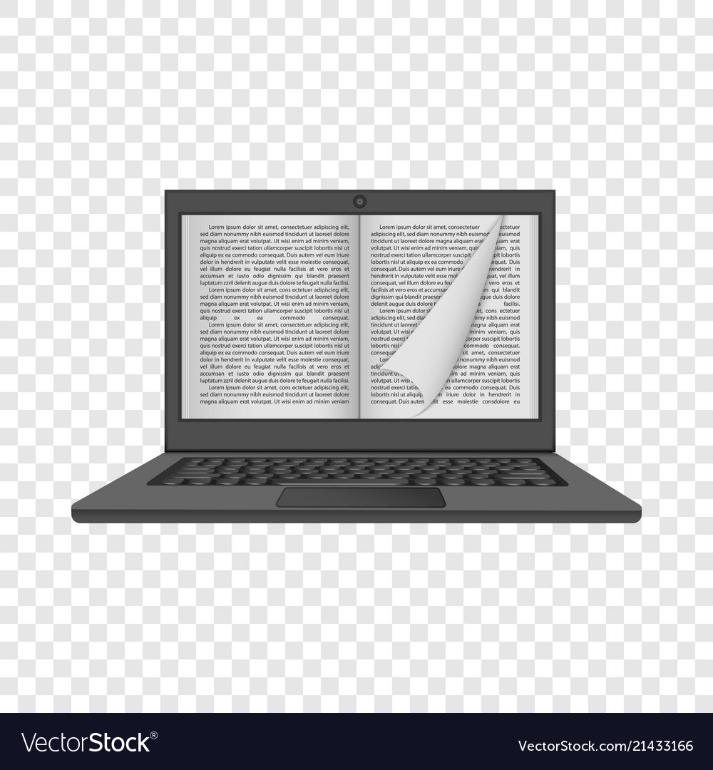 Laptop reading mockup realistic style